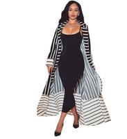 женщины формального кардигана оптовых-2018 женщин длинный кардиган формальный отложным воротником открытой передней полосатый кардиган дамы с длинным рукавом пальто с поясами DW636