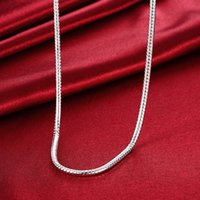 """Wholesale 14k pure gold necklace - whole saleMen's jewelry 20"""" 24'' 4mm 925 pure silver plated long necklace snake chains gift pouches free shipping"""