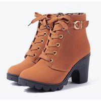 Wholesale ladies brown lace up boots for sale - high quality womens ankle boots fashion chunky heels lace up boots black brown suede leather classic ladies fashion boots