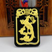 joyería de las mujeres phoenix al por mayor-Diseño de moda Natural Hetian Jade Collar de cadena de cuerda de mujeres negro verde colgante 24k oro colgantes de Phoenix joyería femenina fina