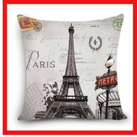 paris kissen großhandel-Startseite Dekorative Kissenbezug Scenic London Tower Rom Paris Gebäude Drucken Polyester Platz Kissen Dekorative Kissenbezug