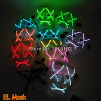 ingrosso maschera audio-Halloween 10 colori Luminous Led Mask Funny Horror 3V Sound EL wire Halloween Carnaval Party Club Bar DJ Maschere a pieno facciale