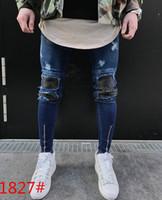 Wholesale Black Hole Design - Represent Jeans Clothing Men Biker Jeans Ripped Distressed Holes Design Slim Fit Pencil Pants High Street Trousers