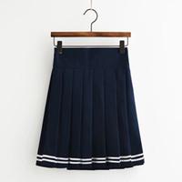 weißer schulmädchenrock großhandel-Faltenrock für die Schule oder den täglichen Gebrauch Schulmädchenrock Schwarz / Weiß / Marineblau 3st pro Los