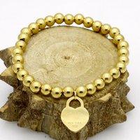 глянцевый браслет оптовых-18k Glod любовь браслет ювелирных изделий сердце шарик цепи браслет для женщин золото Шарм браслет Pulseiras известный бренд ювелирных изделий
