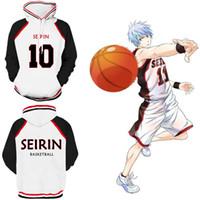 jaquetas de basquete de beisebol venda por atacado-Brasão Basketball Kuroko Tetsuya Halloween 3D Unisex Cosplay Baseball Jacket de Asiático Tamanho Japão Anime Kuroko Hoodie