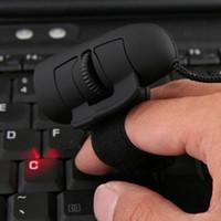 dedo del ratón pc al por mayor-1 unid Negro USB Con Cable Anillos de Dedo Ratón Óptico 1200 Dpi Mini Ratón Para PC Portátil de Escritorio Portátil Ratón Dedo