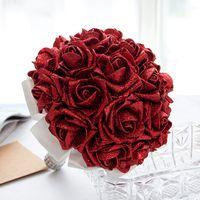 ingrosso bouquet di nozze-Bouquet da sposa nuovo design con fiori fatti a mano con paillettes Rosa rossa Forniture di nozze Spilla con bouquet da sposa CPA1586