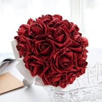gelin için buket çiçekleri toptan satış-Yeni Tasarım El Yapımı Çiçekler ile Düğün Gelin Buketleri Sequins Kırmızı Gül Düğün Malzemeleri Gelin Holding Broş Buket CPA1586