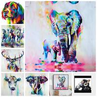 lona da pintura dos elefantes venda por atacado-Multi-cor moderna elefante bonito arte handmade pintura em tela com moldura branca pronto para pendurar frete grátis