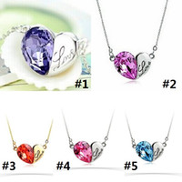 Wholesale colorful rhinestone letters online - Heart Shaped Letter Necklace Best Christmas Gifts Women Fashion Jewelry Colorful Heart Crystal Rhinestone Pendant Necklace D0232