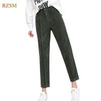 women s elastic waist corduroy pants al por mayor-Mujeres del otoño Pantalones de pana Pantalon Mujer Pantalones Harem de cintura elástica Pantalones de chándal casuales de gran tamaño sueltos