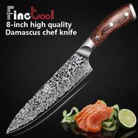 et bıçakları toptan satış-Mutfak Bıçağı 8 inç Profesyonel Şef Bıçakları Japon 7CR17 440C Yüksek Karbon Paslanmaz Çelik Et Santoku Bıçak Micarta Kolu