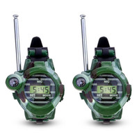 relojes radios al por mayor-1 Par LCD Radio 150M Relojes Walkie Talkie 7 en 1 Niños Reloj Radio Interphone Interphone Toy (Color: Verde)