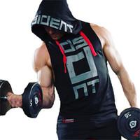 kolsuz polyester perukazalar toptan satış-Erkek Gym Fitness Hoodies Kolsuz Hoodie Spor Sweatshirt Boys Hoodied Üstleri Vücut Geliştirme Giyim Egzersiz Hip Hop Spor Ter Gömlek Üst