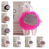Red Fur Pom Pom Alpaca Keyring 8 Styles Sequins Faux Rabbit Fur Fluffy Key Ring Car Bag Keychain Charms Pendant For Women