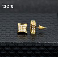 gold füllen ohrringe großhandel-Heiße Männer Zirkonia Diamant Ohrringe Mode Herren Schmuck Hip Hop Kupfer Weißes Gold Füllte Kristall Ohrstecker Schmuck