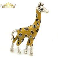 cabeça pino moda venda por atacado-Novidade Moda Pave Cristal e Esmalte Amarelo Girafa Broche de Ouro Tone Cabeça Perna Super Bonito Girafa Pin Lindo Animal Jóias