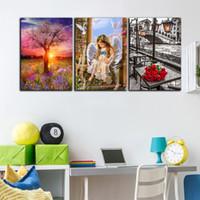 impresiones de la pared de la vida del árbol al por mayor-3 Panel HD Impreso Moderno Pintura Al Óleo Poster Angel Life Tree Flor en Lienzo Home Wall Art Picture Set Para Living Room Decor