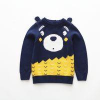 Wholesale girls sweater knit pattern - INS children sweater fashion boys stereo bear ears long sleeve pullover girls cartoon pattern knitting tops kids casual jumper Y3182