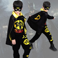 Wholesale batman clothes resale online - Halloween Clothes Sets Kids Boys Batman Leisure Sports Clothing Sets Cartoon Cosplay Cloak Mask Home Clothing WX9