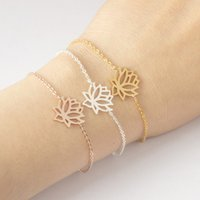 Wholesale Titanium Jewellery Wholesale - Stainless Steel Gold Charm Healing Lucky Lotus Flower Bracelets For Women Boho Jewellery Delicate Chain Yoga Bracelet Mom Gifts