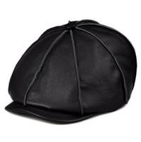 Wholesale genuine leather winter hats - JA116 New Arrival 2017 Autumn Winter Men Woman Brand New Genuine Leather Black Brwon Cowboy Caps Quality Cowhide Painter Hats