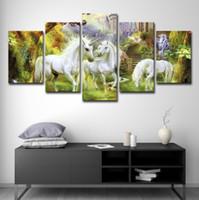 ingrosso paesaggi d'arte astratta scenografia-Abstract HD Stampato Wall Art Canvas Quadri Modern 5 Panel Scenery Unicorn Castle Paintings Poster Home Decor