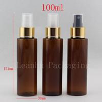 pulverizador de plástico marrón al por mayor-100 ml de botellas de plástico de la bomba rociadora de perfumes vacíos de color marrón (ámbar), contenedores de botellas de aerosol vacíos recargables con collar de oro