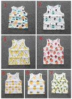 jungen ärmellose t-shirts großhandel-Neue Ins heiße Baby-und Jungen-Kaktus-Oberseiten-Mädchen-Sleeveless Weste-T-Shirt Säuglingsbaby-reine Baumwollfrucht-Kind-T-Shirts Freies Verschiffen