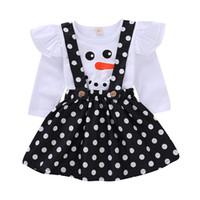 deri askılar toptan satış-Noel Bebek kıyafetler çocuk kız Dot askı etek + Noel kardan adam Uçan kol üst 2 adet / takım Sonbahar çocuk Giyim C5391 Setleri