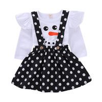 Wholesale children christmas clothing for sale - Xmas Baby outfits children girls Dot suspender skirts Christmas snowman Flying sleeve top set Autumn kids Clothing Sets C5391
