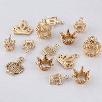 Wholesale gold plated jewelry making supplies - New Fashion Three dimensional crown pendant accessories DIY hand alloy accessories DIY Making Jewelry Supplies Wholesale 100pcs lot