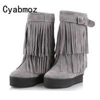 püskül baldır çizmeleri toptan satış-Kadın Orta Buzağı Hakiki Deri Süet Saçak Kar Boots Asansör Kadın Püskül Çizmeler Yüksekliği Artan 12 cm Peluş Sıcak Ayakkabı