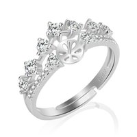 Wholesale Accessories Designs - Noble Design 1 Piece Adjustable 925 Sterling Silver Shiny Crown Ring Accessories with Shiny Zircons, Gift for Women