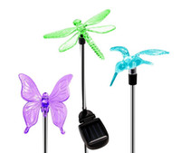 Wholesale Garden Solar Light Butterfly - Solar Stake Lights Outdoor Garden Color Chaning LED Lights with Clear Butterfly Dragonfly Hummingbird Stake Mixed for Outdoor Garden Pathwa
