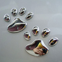 Wholesale bear decoration car for sale - Decoration Silver D Paw Car Sticker Decals Car styling Auto Motorcycle Sticker Pair Bear Dog Animal Paw Foot Print Cute