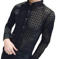 düğün için uzun gömlek toptan satış-Dantel Yama Gömlek Erkekler 2018 Yeni Siyah Beyaz Şeffaf Gömlek Beyaz Erkekler Düğün Gömlek Moda Uzun Kollu Slim Fit Gömlek 2xl