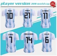 ventas de uniformes de futbol al por mayor-Player version 2018 world cup Argentina home Soccer Jersey Argentina # 10 MESSI camiseta de fútbol # 21 DYBALA # 9 AGUERO home Football uniforms sales