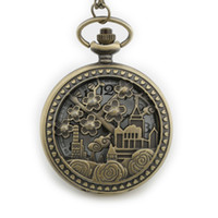 design house flowers 2018 - TIEDAN Dropshipping 2018 Hot Sale Hollow Flower and House Design Steampunk Bronze Pocket Watch for Unisex Gift Necklace FobWatch
