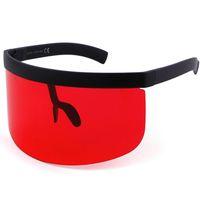 Wholesale Mirrored Visor - Vintage Extra Oversize Shield Visor Sunglasses Women Flat Top Mask Mirrored Shades Men Windproof Eyewear UV400 Y275