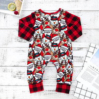 Wholesale zebra printed animals for sale - Christmas Baby Girl Clothes Boys Red Elk Santa Full Print Rompers Infant Long Sleeved Jumpsuits Kids Designer Onesies Brand Clothing C181112