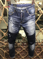 Wholesale Stripe Denim Shorts - D2 017 Men's Distressed Ripped Skinny Fashion Designer Shorts Slim Motorcycle Moto Biker Causal Mens Denim Pants Hip Hop Men Jeans