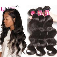 tramas de cabello ondulado al por mayor-UNice Hair Raw Indian Body Wave 3 Bundles 100% armadura de cabello humano 8-30inch Virgen Extensiones de cabello humano ondulado Weave Wefts Wholesale Bulk barato