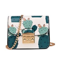 Wholesale cute bags teens for sale - Group buy Women Messenger Bag Summer Fresh Lady Flower Printing Chain Shoulder Bag Cute Cactus Crossbody for Teen Girls