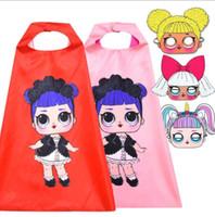 disfraces para muñecas al por mayor-niños Capa máscara conjunto Cosplay Doll Cartoon Girl Cloak Mask Disfraz de Halloween para Niños 2 unids 1set KKA5971