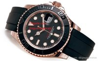 relógios de aço inoxidável venda por atacado-Top de Luxo homens assistir 116655 pulseira de borracha Pulseira Cerâmica Moldura Black Dial 18 K Rose Gold Automático Mechinacal Relógio de Pulso dos homens Relógio Do Esporte