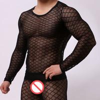 мужчины видят белье оптовых-Сексуальная мужская футболка ультра-тонкий сетка белый черный Майка топы мужская с длинным рукавом О-образным вырезом футболка гей прозрачный видеть сквозь нижнее белье одежда