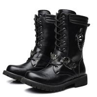 media bota de seguridad al por mayor-Nuevos hombres del diseñador Bota de moda negra con cordones del encanto del cráneo Martin Boot Ocio trabajo de arranque de la motocicleta Zapatos de hombre mediados de la mitad Zapatos 37-45