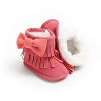 bebek giyim terliği toptan satış-2018 Marka Yeni Yürüyor Bebek Kız Erkek Kış Sıcak Çizmeler Patik Kar Terlik Katı Kürk Slip-On Yay Pamuk Kürklü Ayakkabı 0-18 M